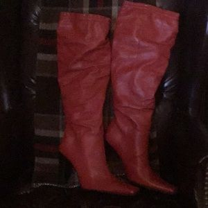 Shoes - Red Leather Italian boots, knee high
